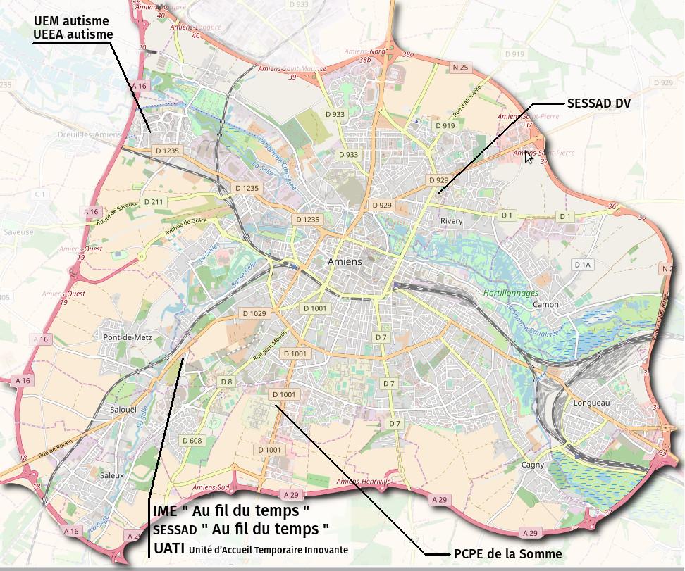 emplacement des services et établissements médico-sociaux gérés par l'APAJH80 à Amiens métropole