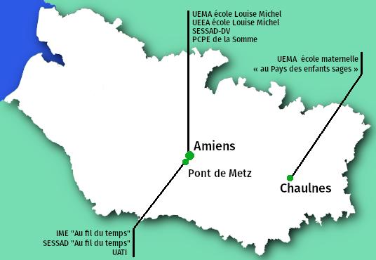 Emplacement des établissements et services médico-sociaux gérés par l'APAJH80 dans le départment de la Somme