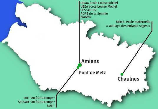 Emplacement des établissements et services médico-sociaux gérés par l'APAJH80 dans le département de la Somme