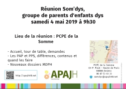 Affichette de la réunion Som'dys du 4 mai 2019